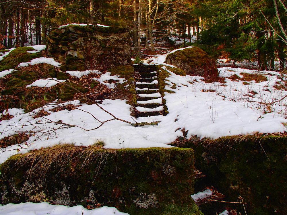 Premier escalier du Stützpunkt Rehkopf