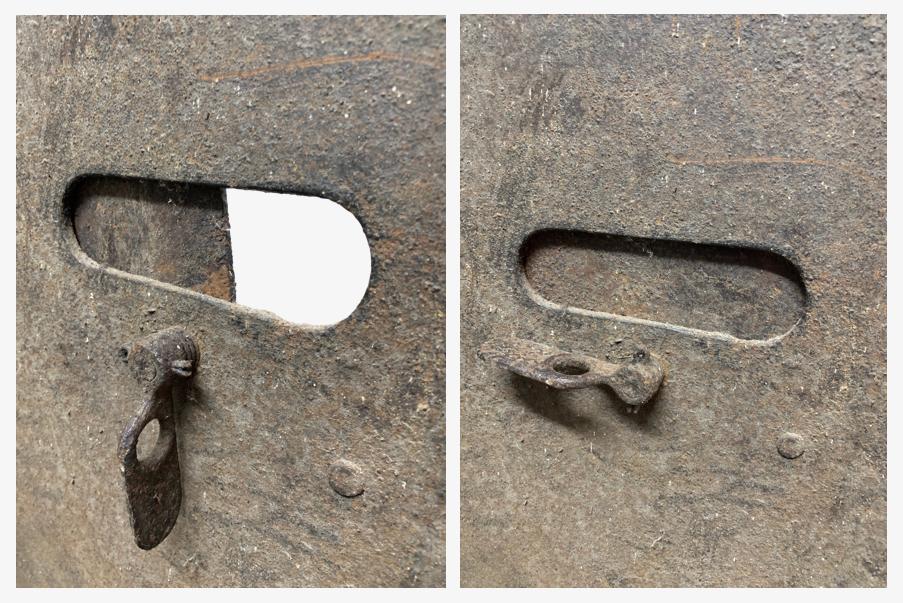Volet pivotant sur le bouclier de tranchée allemand