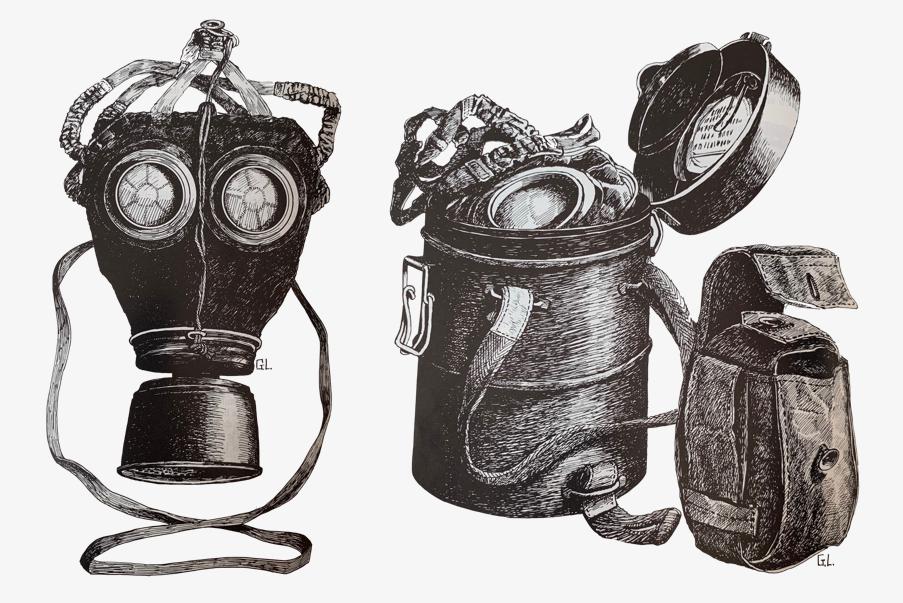Dessin du Lederschutzmaske de 1917