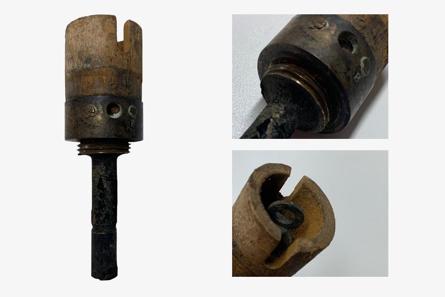 Pas de vis sur l'allumeur de la grenade sphérique de 1914.