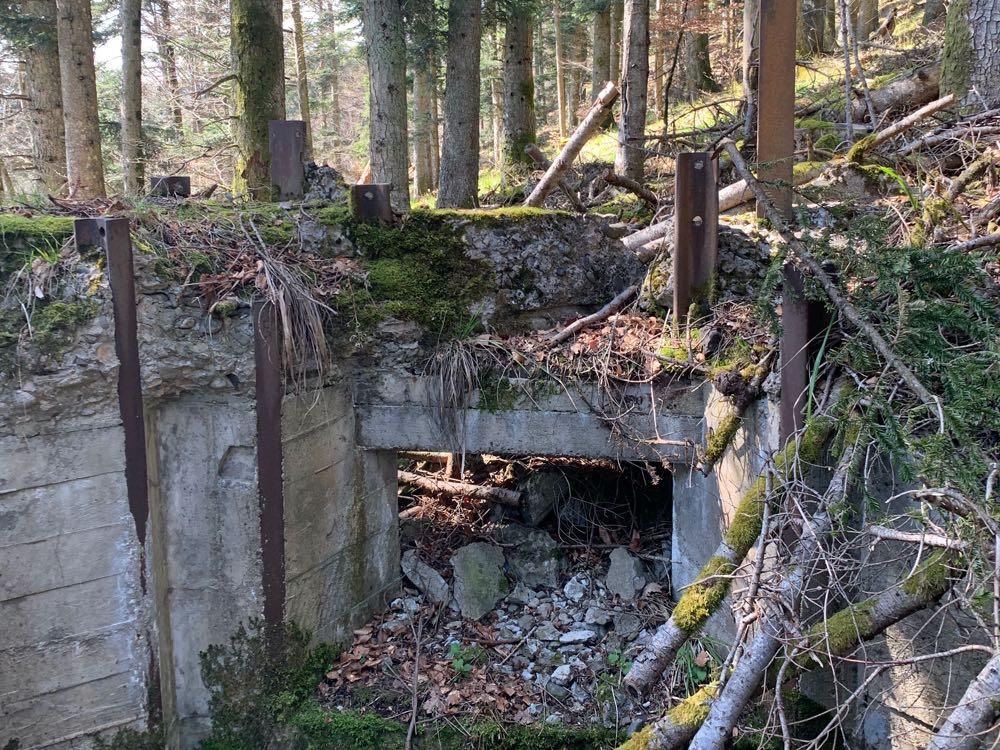 Poste de mitrailleuse allemand du Holzwasen effondré.