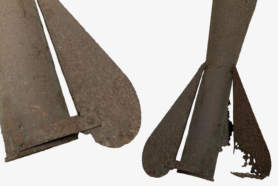 Zoom sur les ailettes d'un mortier de tranchée LS.